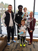 Pictured: Wilfried Bony with Swansea City competition winners at the club's Youth Training facility in Landore, Swansea. Friday 04 April 2014