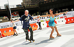 NEW YORK, NY - JULY 28: Professional skaters from Central Park Dance Skaters Association attend the grand opening of the High Line Rink at The Lot at The High Line on July 28, 2011 in New York City.  (Photo by Desiree Navarro/WireImage)