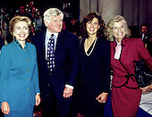 "Washington, DC - (FILE) -- First lady Hillary Rodham Clinton, left, poses for a photo with United States Senator Edward M. ""Ted"" Kennedy (Democrat of Massachusetts), left center, Victoria Reggie Kennedy, wife of Senator Kennedy, right center, and Eunice Kennedy Shriver, sister of Senator Kennedy, right following Clinton's testimony on health care reform before the U.S. Senate Education and Labor Committee in Washington, D.C. on September 29, 1993.  .Credit: Ron Sachs / CNP"