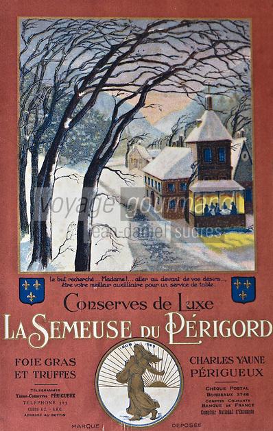 Europe/France/Aquitaine/24/Dordogne/Sorges: Musée de la Truffe, Sorges:  Plaquette publicitaire d'un conserveur de foie gars et truffe _ Reproduction - Collection:  Musée de la Truffe, Sorges