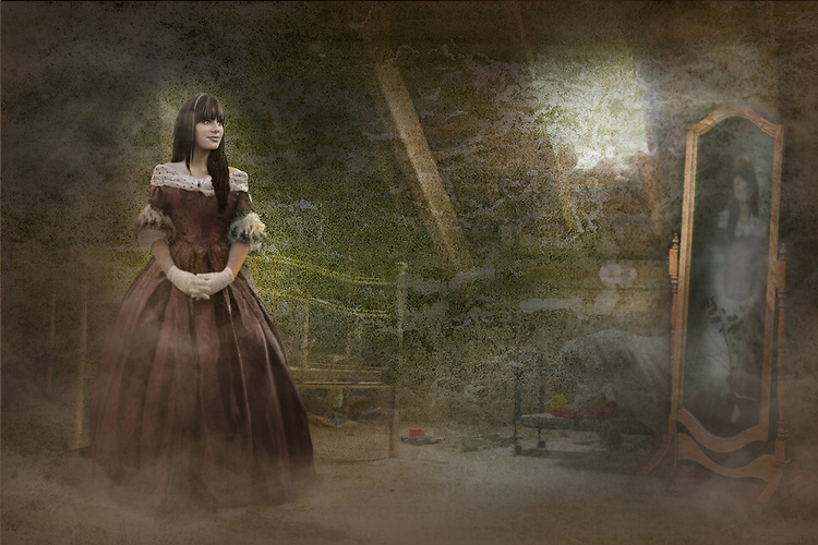 girl standing in a bedroom wearing an old fashioned dress looking, in the mirror