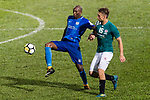 SC Kitchee Forward Alessandro Ferreira (L) in action against Aleksandr Kokko of Long Lions (R) during the Community Cup match between Kitchee and Eastern Long Lions at Mong Kok Stadium on September 23, 2017 in Hong Kong, China. Photo by Marcio Rodrigo Machado / Power Sport Images