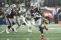FOXBOROUGH, MA - NOVEMBER 24: New England Patriots Runningback Brandon Bolden #38 during a game between Dallas Cowboys and New England Patriots at Gillettes on November 24, 2019 in Foxborough, Massachusetts.