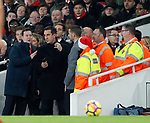 Sky sports presenter Gary Neville appears to argue in the tunnel during the premier league match at the Emirates Stadium, London. Picture date 22nd December 2017. Picture credit should read: David Klein/Sportimage