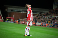 Josh Tymon of Stoke City looks to the sky after his lobbed effort hits the bar during the Carabao Cup match between Stoke City and Rochdale at the Bet365 Stadium, Stoke-on-Trent, England on 23 August 2017. Photo by James Williamson / PRiME Media Images.