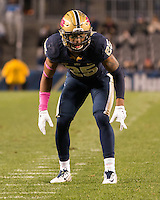 Pitt defensive back Pat Amara. The North Carolina Tar Heels football team defeated the Pitt Panthers 26-19 on Thursday, October 29, 2015 at Heinz Field, Pittsburgh, Pennsylvania.