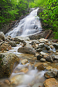 Cloudland Falls in Franconia Notch during the spring months. This waterfall is located on Dry Brook in Lincoln, New Hampshire. The Falling Waters Trail passes by it.