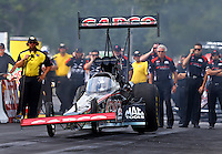 Aug. 18, 2013; Brainerd, MN, USA: NHRA top fuel dragster driver Steve Torrence double steps the throttle during the Lucas Oil Nationals at Brainerd International Raceway. Mandatory Credit: Mark J. Rebilas-