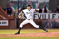 Asheville Tourists starting pitcher Kyle Freeland #36 delivers a pitch during a game against the Savannah Sand Gnats at McCormick Field September 3, 2014 in Asheville, North Carolina. The Tourists defeated the Sand Gnats 8-3. (Tony Farlow/Four Seam Images)