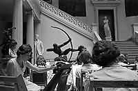 Art students paint in sculpture gallery, Delgado Art Museum, New Orleans Louisiana, 1953. Credit: © John G. Zimmerman Archive
