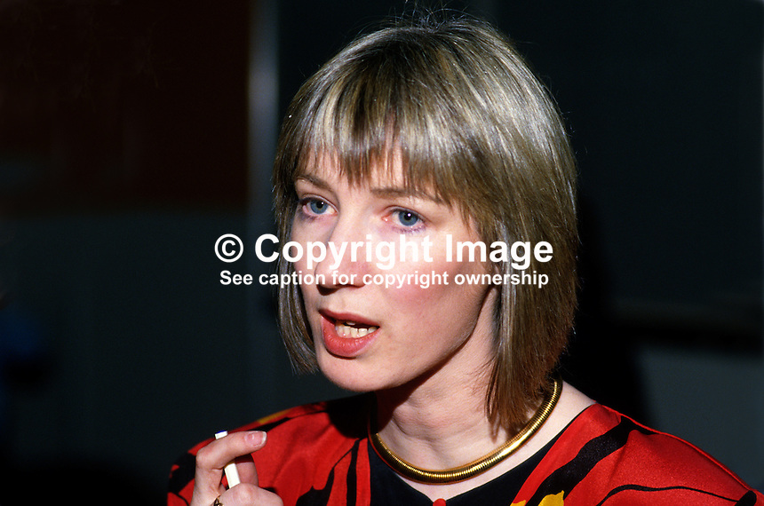 Katherine Byrne, personal assistant to Frank Wall, general secretary of Fianna Fail, Rep of Ireland, 19860401KB..Copyright Image from Victor Patterson, 54 Dorchester Park, Belfast, UK, BT9 6RJ..Tel: +44 28 9066 1296.Mob: +44 7802 353836.Voicemail +44 20 8816 7153.Skype: victorpattersonbelfast.Email: victorpatterson@mac.com.Email: victorpatterson@ireland.com (back-up)..IMPORTANT: If you wish to use this image or any other of my images please go to www.victorpatterson.com and click on the Terms & Conditions. Then contact me by email or phone with the reference number(s) of the image(s) concerned.