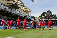 Fleetwood players warm up ahead of the Sky Bet League 1 match between Bristol Rovers and Fleetwood Town at the Memorial Stadium, Bristol, England on 26 August 2017. Photo by Mark  Hawkins.