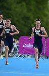 LONDON, ENGLAND - AUGUST 7:  Alistair and Jonathan Brownlee of Great Britain run during the Men's Triathlon Final, Day 12 of the London 2012 Olympic Games on August 7, 2012 at Hyde Park in London, England. (Photo by Donald Miralle)
