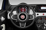 Car pictures of steering wheel view of a 2020 Fiat 500C-HYBRID S8-Star 2 Door Convertible Steering Wheel