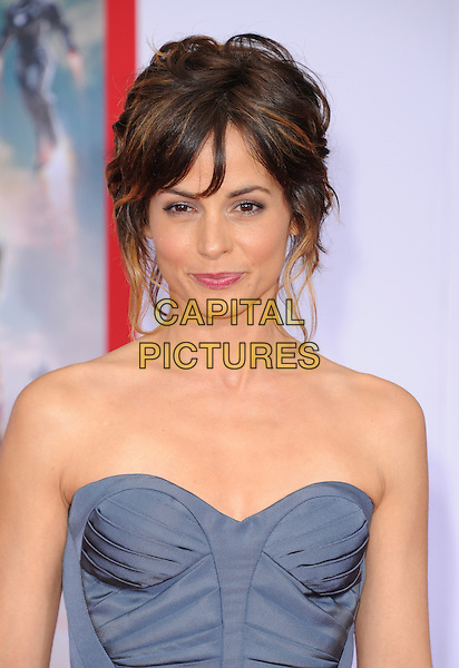 "Stephanie Szostak.""Iron Man 3"" World Premiere held at the El Capitan Theatre, Hollywood, California, USA.                                                  .April 24th, 2013.headshot portrait blue grey gray strapless    .CAP/DVS.©DVS/Capital Pictures"