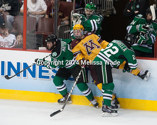 Nick Mattson (North Dakota - 5), Mike Reilly (MN - 5), Andrew Panzarella (North Dakota - 22) - The University of Minnesota Golden Gophers defeated the University of North Dakota 2-1 on Thursday, April 10, 2014, at the Wells Fargo Center in Philadelphia to advance to the Frozen Four final.