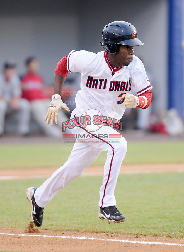 Outfielder Eury Perez (3) of the Potomac Nationals, Carolina League affiliate of the Washington Nationals, in a game against the Salem Red Sox on June 16, 2011, at Pfitzner Stadium in Woodbridge, Va. Photo by Tom Priddy / Four Seam Images