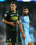 Andreas Christensen of Borussia Monchengladbach and Sergio Aguero of Manchester City during the UEFA Champions League Group C match at The Etihad Stadium, Manchester. Picture date: September 14th, 2016. Pic Simon Bellis/Sportimage