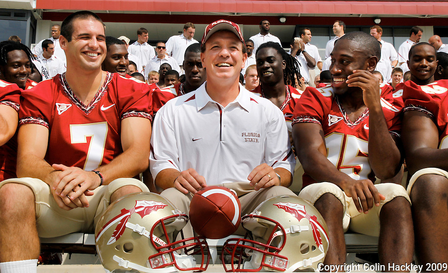 TALLAHASSEE, FL 8/8/10-FSU-080810 CH-Florida State Head Coach Jimbo Fisher, center, is joined by quarterback Christian Ponder, left, and Ochuko Jenije during media day Sunday in Tallahassee. .COLIN HACKLEY PHOTO