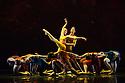 "London, UK. 01.07.2014.  New English Ballet Theatre present an evening of five premieres, entitled TRYST: DEVOTION & BETRAYAL, at the Peacock Theatre. the dancers are: Gyorgy Baan, Joshua Barwick, Lorenzo Bernardi, Hayley Blackburn, Niklas Blomqvist, Christina Ceccini, Jessica Clyde, Ludovico di Ubaldo, Matthieu Quincy, Mercedes Schindler, Yvonne Slingerland, Silas Stubbs, Francesca Tennant, Justine Wisznia. The piece shown is  ""Orbital Motion"" by Valentino Zucchetti. Photograph © Jane Hobson."