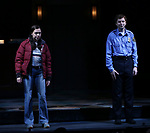 "Bel Powley and Michael Cera taking their first performance curtain call bow for ""Lobby Hero"", marking Evans' Broadway debut and the inaugural performance at Second Stage's Hayes Theater on March 1, 2018 at The Hayes Theatre in New York City."