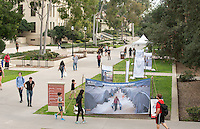 "UN WEEK Presents an art exhibition: ""Through Refugee Eyes,"" an immersive art exhibition by Syrian artist Abdulazez Dukhan, Feb. 16, 2017 in the Academic Quad. Abdulazez Dukhan is an 18-year-old  Syrian Refugee artist and photographer who fled Syria four years after the start of the revolution.  His journey took him on the same path as many other Syrian refugees, through Turkey and eventually into a Refugee camp in Greece.  He uses his art to tell powerful stories about the lives of Refugees through his project Through Refugee Eyes, a portion of which is on display around the Occidental Campus.<br /> Sponsored by the Kahane UN Program and presented by Occidental College's Diplomacy & World Affairs Department with support from Kahane Fund, The Young Initiative, IPO, UNA-USA, IRAP and Oxy Arts.<br /> (Photo by Marc Campos, Occidental College Photographer)"