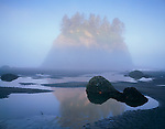 Olympic National Park, WA <br /> Morning sun burns through a fog layer illuminating Cakesota Island and tidal pools on Second Beach; part of the Olympic National Wildlife Refuge