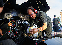 Feb 2, 2018; Chandler, AZ, USA; Jimmy Prock, crew chief for NHRA funny car driver Robert Hight during Nitro Spring Training pre season testing at Wild Horse Pass Motorsports Park. Mandatory Credit: Mark J. Rebilas-USA TODAY Sports