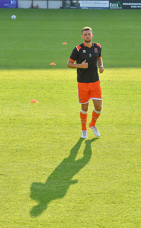 Blackpool players warm up<br /> <br /> Photographer Dave Howarth/CameraSport<br /> <br /> Football Pre-Season Friendly - AFC Fylde v Blackpool - Tuesday July 16th 2019 - Mill Farm - Fylde<br /> <br /> World Copyright © 2019 CameraSport. All rights reserved. 43 Linden Ave. Countesthorpe. Leicester. England. LE8 5PG - Tel: +44 (0) 116 277 4147 - admin@camerasport.com - www.camerasport.com