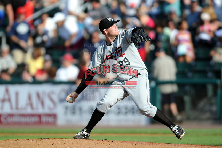 Tri-City Valley Cats pitcher Aaron West #29 during a game versus the Lowell Spinners at LeLacheur Park In Lowell, Massachusetts on July 1, 2012.   (Ken Babbitt/Four Seam Images)