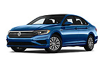 Stock pictures of low aggressive front three quarter view of a 2019 Volkswagen Jetta SEL 4 Door Sedan