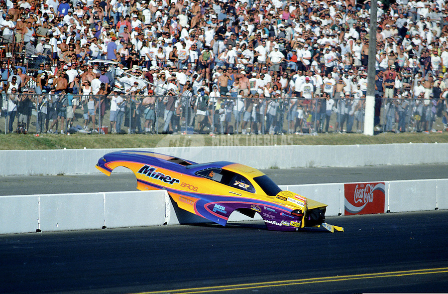 Aug. 4, 1997; Kent, WA, USA; NHRA top alcohol funny car driver Larry Miner blows the body off his car in the final round of the Northwest Nationals at Seattle International Raceway. (Editors note: Image 8 of 8 photo sequence) Mandatory Credit: Mark J. Rebilas-
