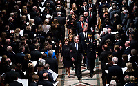 Former President George W. Bush with his wife Laura during walk behind the casket of his father former president George Herbert Walker Bush during a memorial ceremony at the National Cathedral in Washington, Wednesday,  Dec.. 5, 2018.  <br /> <br /> CAP/MPI/RS<br /> &copy;RS/MPI/Capital Pictures