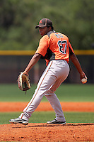 Baltimore Orioles pitcher Jose Mota #87 delivers a pitch during an extended spring training game against the Tampa Bay Rays at the Charlotte County Sports Park on April 28, 2012 in Port Charlotte, Florida.  (Mike Janes/Four Seam Images)