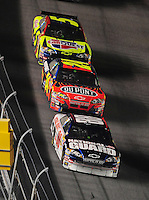 Feb 9, 2008; Daytona, FL, USA; Nascar Sprint Cup Series driver Dale Earnhardt Jr (88) leads teammates Jeff Gordon (24) and Casey Mears (5) during the Bud Shootout at Daytona International Speedway. Mandatory Credit: Mark J. Rebilas-US PRESSWIRE