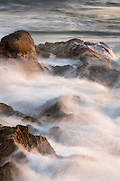 Long exposure image of waves hitting the rocks at La Jolla, California