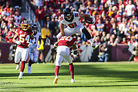 Landover, MD - November 4, 2018: Atlanta Falcons tight end Austin Hooper (81) leaps over Washington Redskins free safety Ha Ha Clinton-Dix (20) during the  game between Atlanta Falcons and Washington Redskins at FedEx Field in Landover, MD.   (Photo by Elliott Brown/Media Images International)