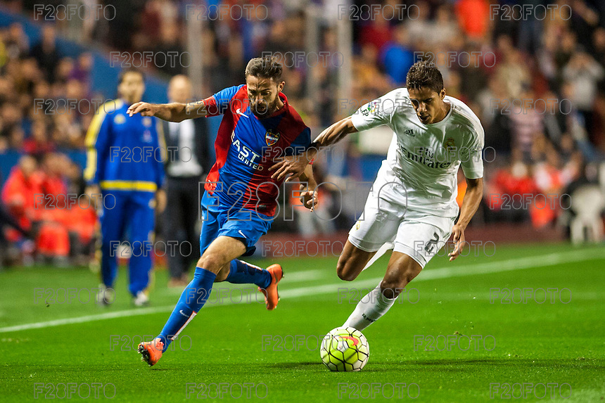 VALENCIA, SPAIN - MARCH 2: Morales, Varane during BBVA League match between VLevante U.D. and R. Madrid at Ciudad de Valencia Stadium on March 2, 2015 in Valencia, Spain
