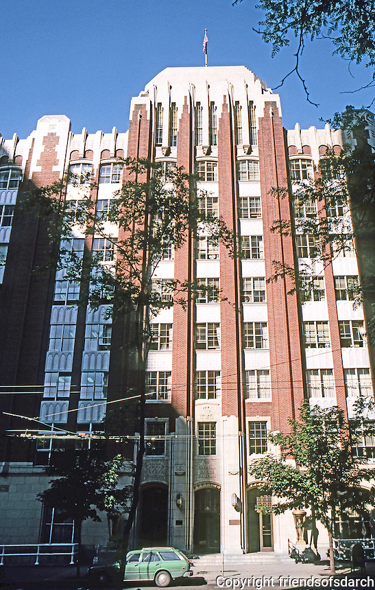 Seattle: Old Federal Office Building, 1932-33. James A. Wetmore, Supervising Architect. 900 block First. Note: aluminum frames & spandrels.  Photo '86.