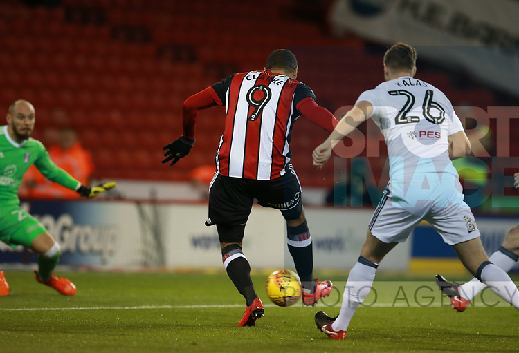 Leon Clarke of Sheffield Utd scores the first goal during the Championship match at Bramall Lane Stadium, Sheffield. Picture date 21st November 2017. Picture credit should read: Simon Bellis/Sportimage