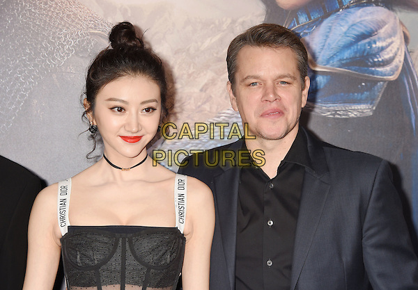 HOLLYWOOD, CA - FEBRUARY 15: Actors Jing Tian (L) and Matt Damon arrive at the premiere of Universal Pictures' 'The Great Wall' at TCL Chinese Theatre IMAX on February 15, 2017 in Hollywood, California.<br /> CAP/ROT/TM<br /> &copy;TM/ROT/Capital Pictures
