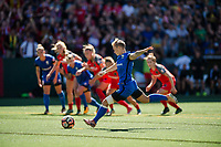 Seattle, WA - Saturday, August 26th, 2017: Jess Fishlock during a regular season National Women's Soccer League (NWSL) match between the Seattle Reign FC and the Portland Thorns FC at Memorial Stadium.