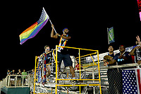 Cary, North Carolina  - Saturday June 17, 2017: Courage Supporters after a regular season National Women's Soccer League (NWSL) match between the North Carolina Courage and the Boston Breakers at Sahlen's Stadium at WakeMed Soccer Park. The Courage won the game 3-1.