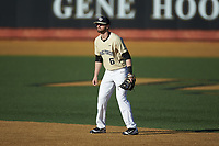 Wake Forest Demon Deacons second baseman Jake Mueller (6) on defense against the Gardner-Webb Runnin' Bulldogs at David F. Couch Ballpark on February 18, 2018 in  Winston-Salem, North Carolina. The Demon Deacons defeated the Runnin' Bulldogs 8-4 in game one of a double-header.  (Brian Westerholt/Four Seam Images)