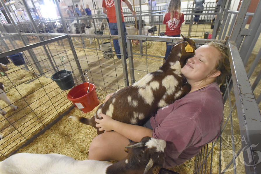 NWA Democrat-Gazette/FLIP PUTTHOFF <br /> GOATS STAR AT FAIR<br /> Kimberly Caswell of Gentry snuggles with her goats on Tuesday Aug. 6 2019 in the livestock barn on opening day of the Benton County Fair. A dairy goat show Tuesday morning opened the festivities at the fairgrounds located near the Vaughn community west of Bentonvlle. The fiar continues today and runs through Saturday. Admission is free.