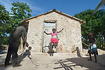 Seven-year old Iznaida Dalmas jumps rope in front of her family's new home in Picmy, a village on the Haitian island of La Gonave where Service Chr&eacute;tien d&rsquo;Ha&iuml;ti is working with survivors of Hurricane Matthew, which struck the region in 2016. Holding the rope are her brother Vestander and sister Erm Jouna.<br /> <br /> SCH, a member of the ACT Alliance, is helping families like this one repair or rebuild their homes on the island.<br /> <br /> Parental consent obtained.