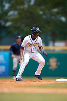 Montgomery Biscuits Jesus Sanchez (4) leads off second base during a Southern League game against the Mobile BayBears on May 2, 2019 at Riverwalk Stadium in Montgomery, Alabama.  Mobile defeated Montgomery 3-1.  (Mike Janes/Four Seam Images)
