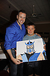 John Driscoll and Frankie with their painting -  Actor from Y&R  donated his time to Southwest Florida 16th Annual SOAPFEST - a celebrity weekend May 22 thru May 25, 2015 benefitting the Arts for Kids and children with special needs and ITC - Island Theatre Co. as it presented A Night of Stars on May 23 , 2015 at Bistro Soleil, Marco Island, Florida. (Photos by Sue Coflin/Max Photos)