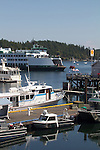 San Juan Island, Friday Harbor, San Juan Islands, Washington State, Pacific Northwest, United States, North America, USA, coastal town, waterfront, yacht harbor, Washington State Ferries, summer tourist season, tourists,