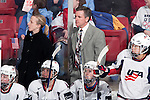 January 5, 2010: USA Hockey head coach Mark Johnson looks on during an exhibition women's hockey game against the Wisconsin Badgers at the Kohl Center in Madison, Wisconsin on January 5, 2010.   Team USA won 9-0. (Photo by David Stluka)